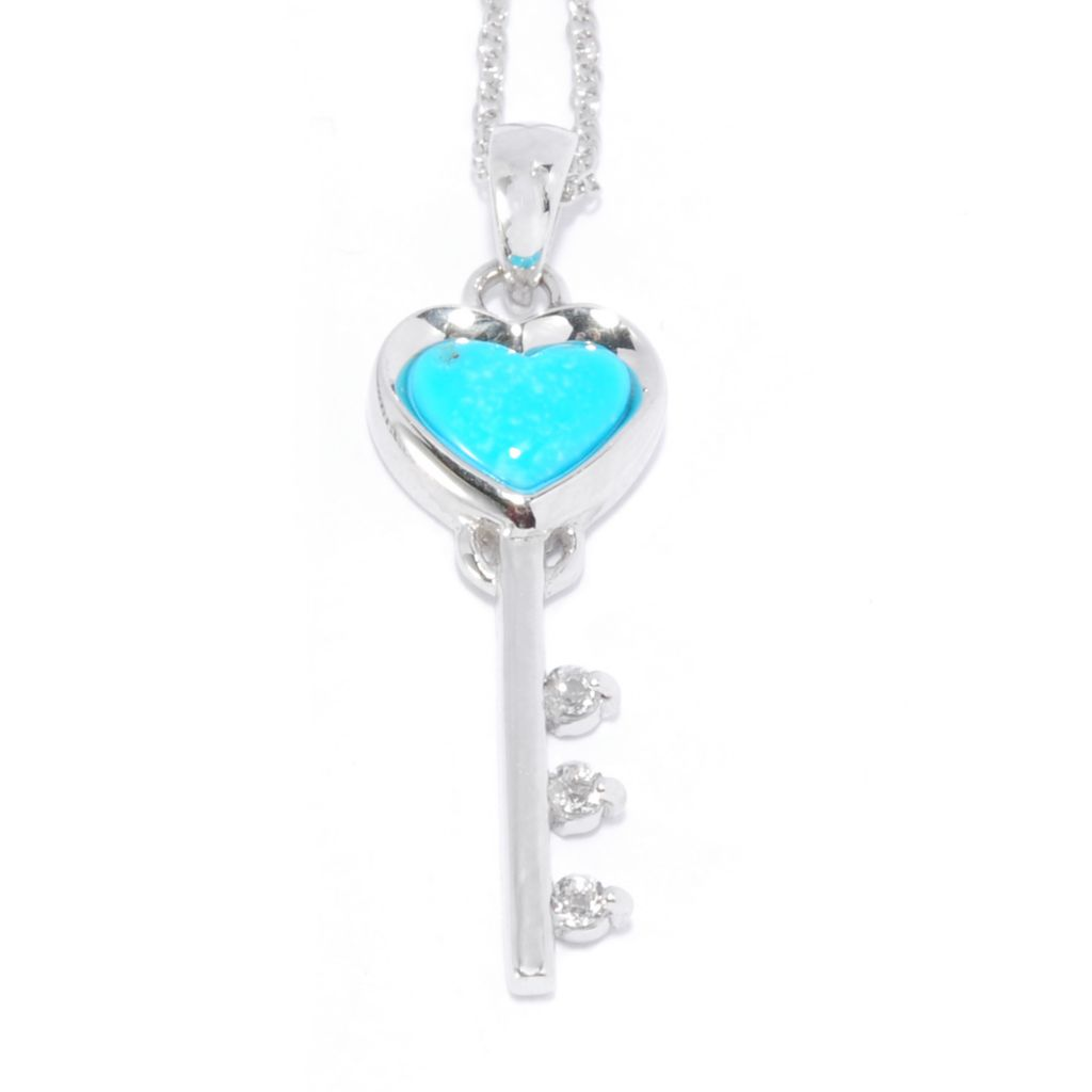 137-433 - Gem Insider Sterling Silver Sleeping Beauty Turquoise & White Topaz Key Pendant