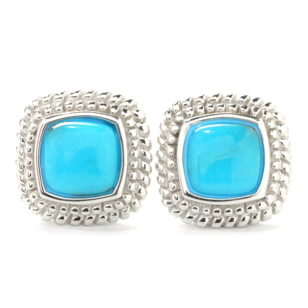 137-435 - Gem Insider Sterling Silver 8mm Sleeping Beauty Turquoise Button Earrings