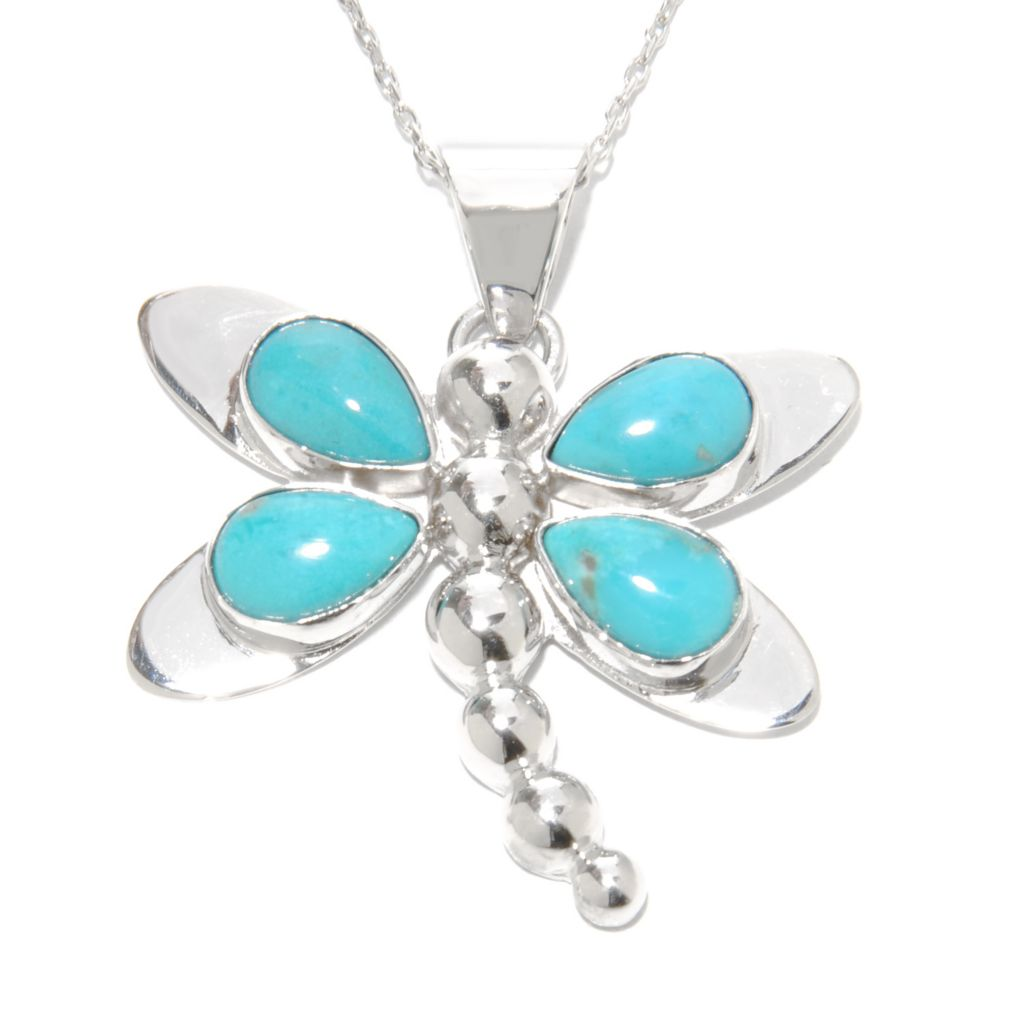 137-438 - Gem Insider Sterling Silver Sleeping Beauty Turquoise Four-Stone Dragonfly Pendant