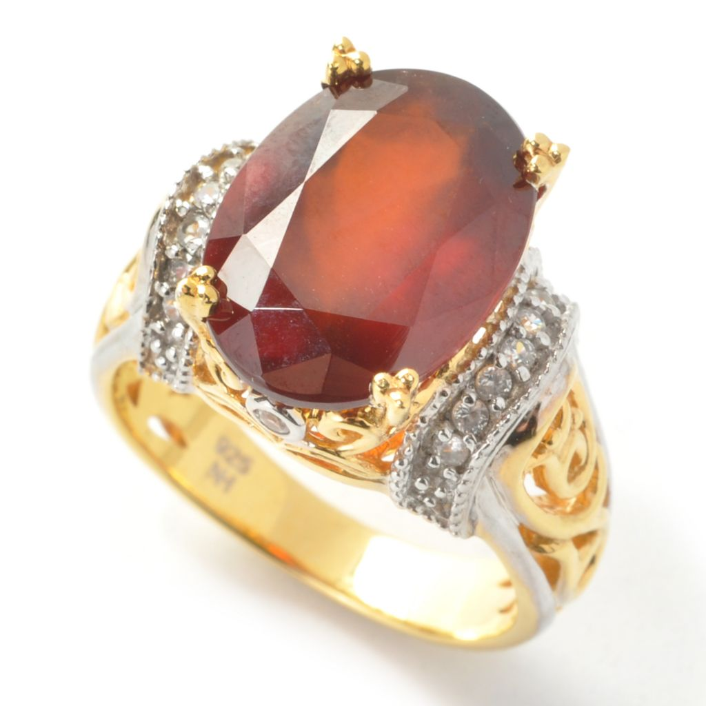 137-439 - Gems en Vogue 6.51ctw Oval Hessonite & White Zircon Ring