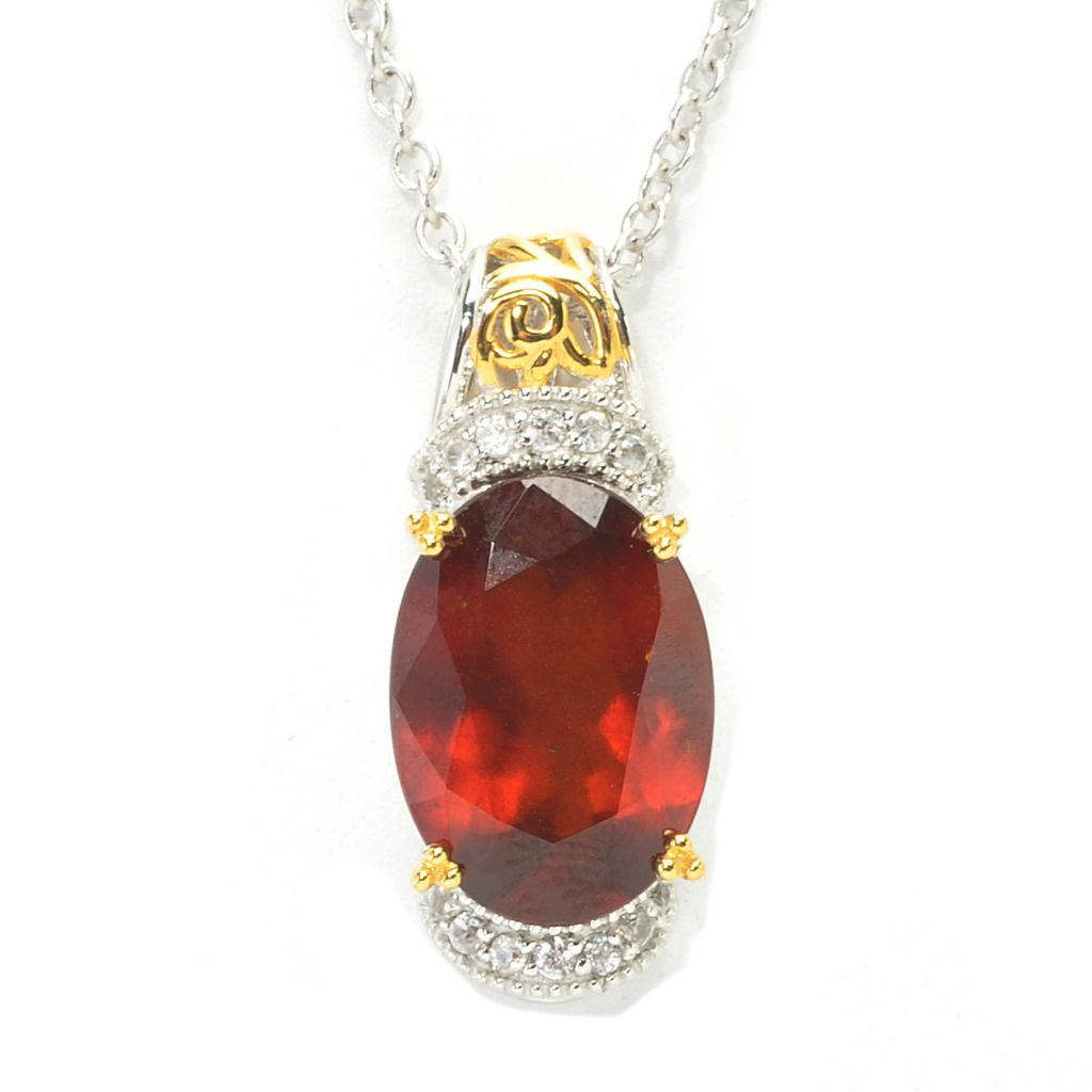 137-440 - Gems en Vogue 6.51ctw Oval Hessonite & White Zircon Pendant w/ Chain