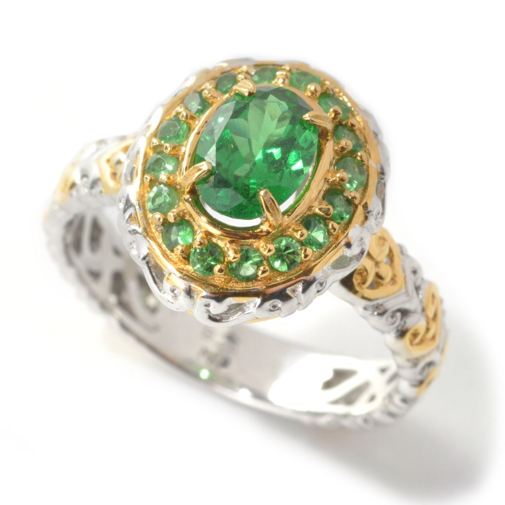 137-441 - Gems en Vogue II 1.47ctw Oval Tsavorite Halo Ring