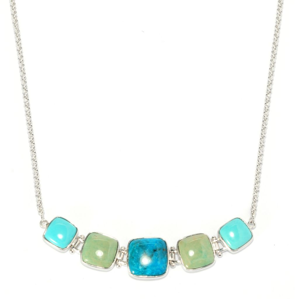 "137-442 - Gem Insider 18"" Sterling Silver Kingman Turquoise & Sleeping Beauty Turquoise Necklace"