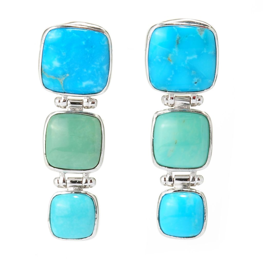 "137-443 - Gem Insider 1.5"" Sterling Silver Kingman Turquoise & Sleeping Beauty Turquoise Earrings"