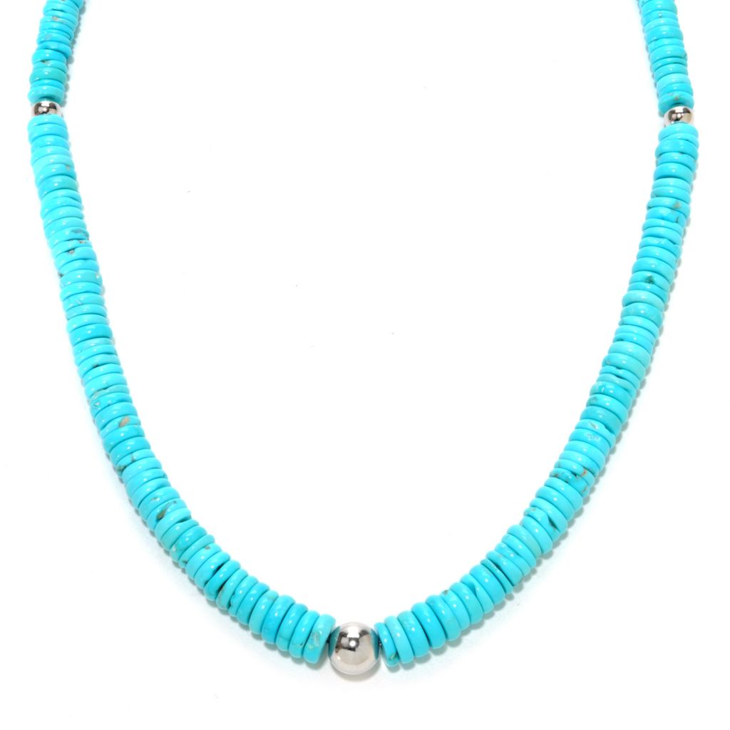 "137-444 - Gem Insider Sterling Silver 18"" Sleeping Beauty Turquoise Station Necklace"