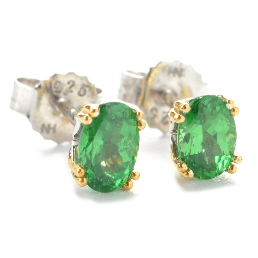 137-445 - Gems en Vogue II 6 x 4mm Oval Tsavorite Stud Earrings