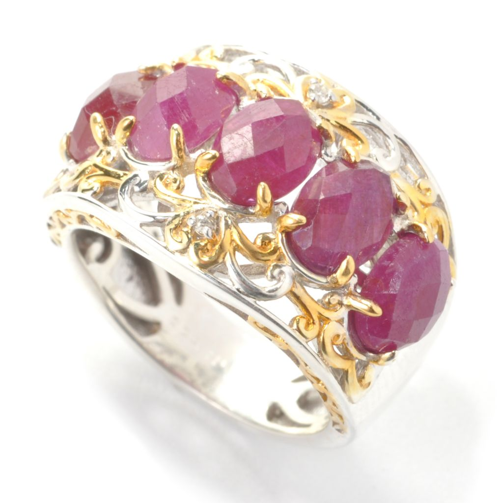 137-446 - Gems en Vogue 4.81ctw Ruby & Diamond Five-Stone Band Ring