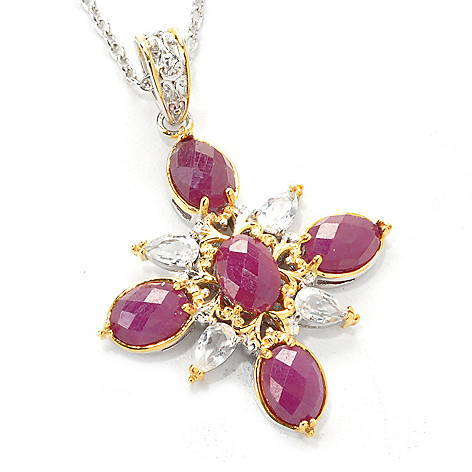 137-447 - Gems en Vogue 5.56ctw Ruby & White Topaz Starburst Pendant w/ 18'' Chain
