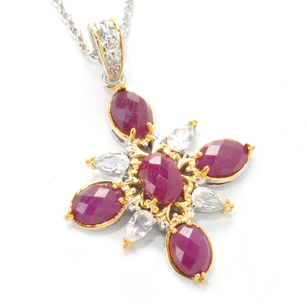 "137-447 - Gems en Vogue II 5.56ctw Ruby & White Topaz Starburst Pendant w/ 18"" Chain"
