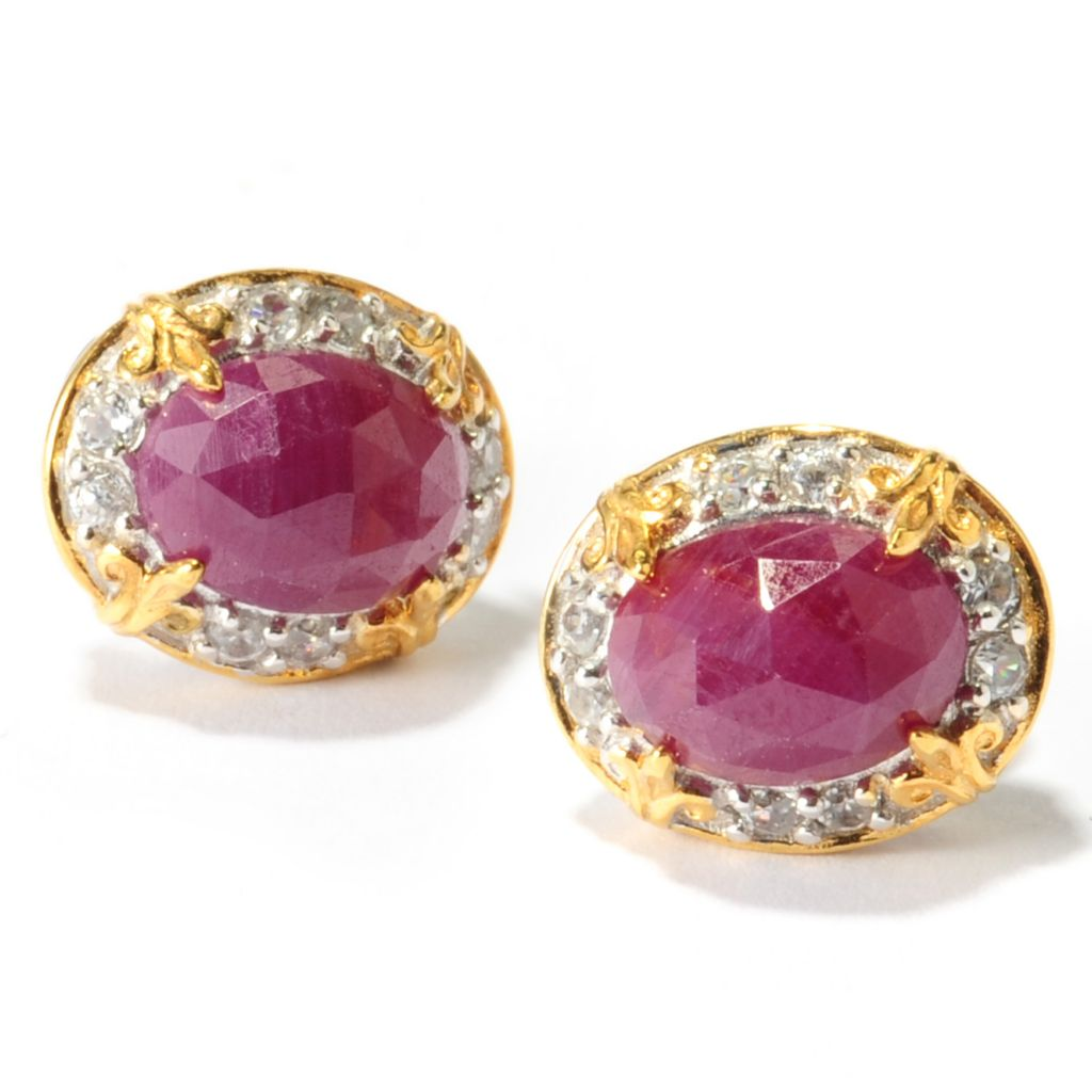 137-448 - Gems en Vogue 3.58ctw Ruby & White Zircon Stud Earrings
