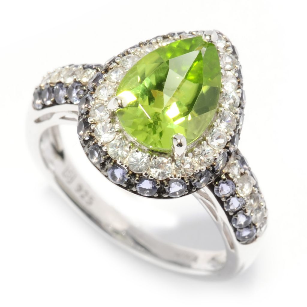 137-463 - Gem Insider Sterling Silver 2.28ctw Peridot, White Sapphire & Iolite Pear Ring