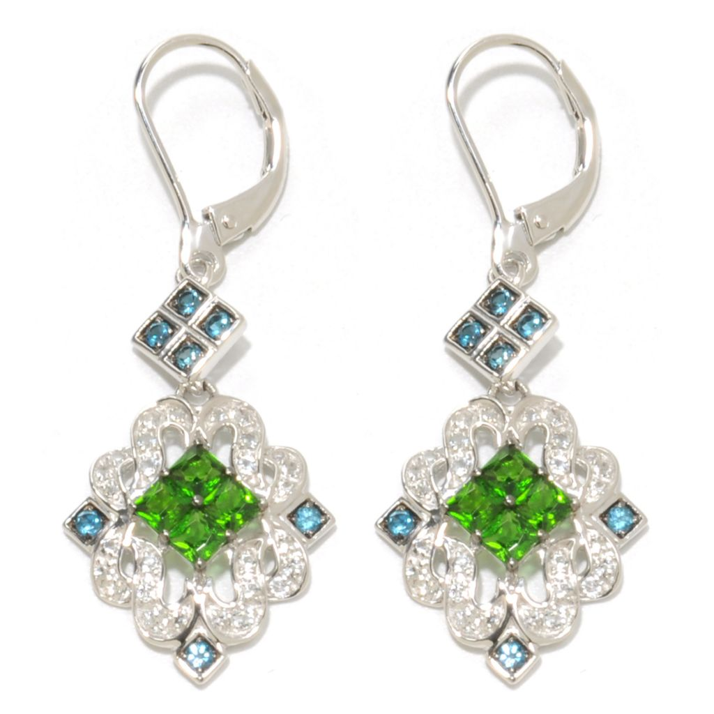 "137-464 - Gem Insider Sterling Silver 1.75"" 1.88ctw Chrome Diopside & Multi Gem Earrings"