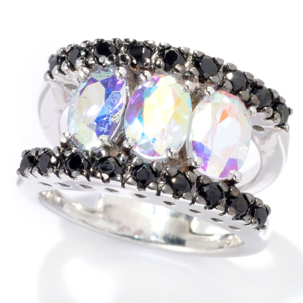 137-468 - Gem Treasures Sterling Silver 3.18ctw Spinel & Exotic Topaz Split Band Ring
