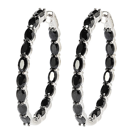 137-469 - Gem Treasures® Sterling Silver 1.75'' 18.50ctw Spinel Inside-Out Hoop Earrings
