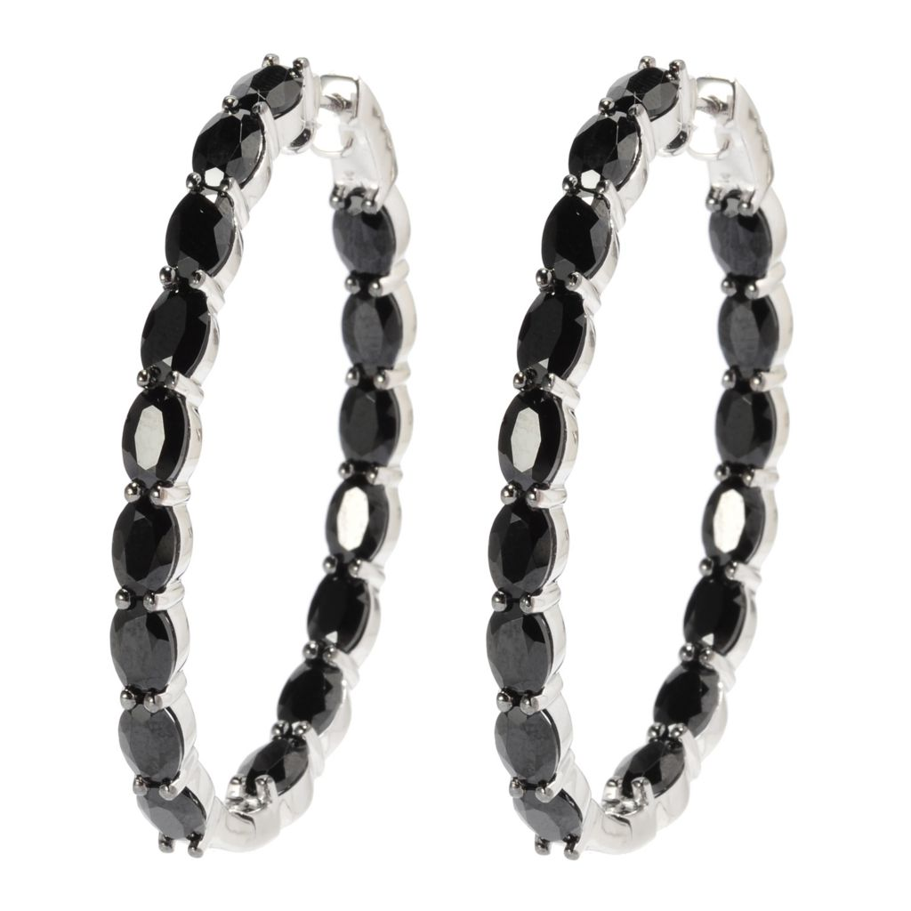 "137-469 - Gem Treasures Sterling Silver 1.75"" 18.50ctw Spinel Inside-Out Hoop Earrings"