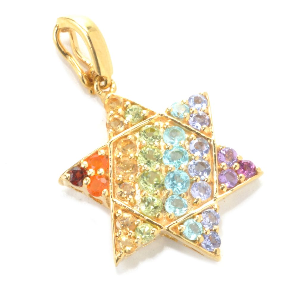 137-473 - NYC II 1.40ctw Multi Gemstone Exotic Rainbow Star of David Enhancer Charm