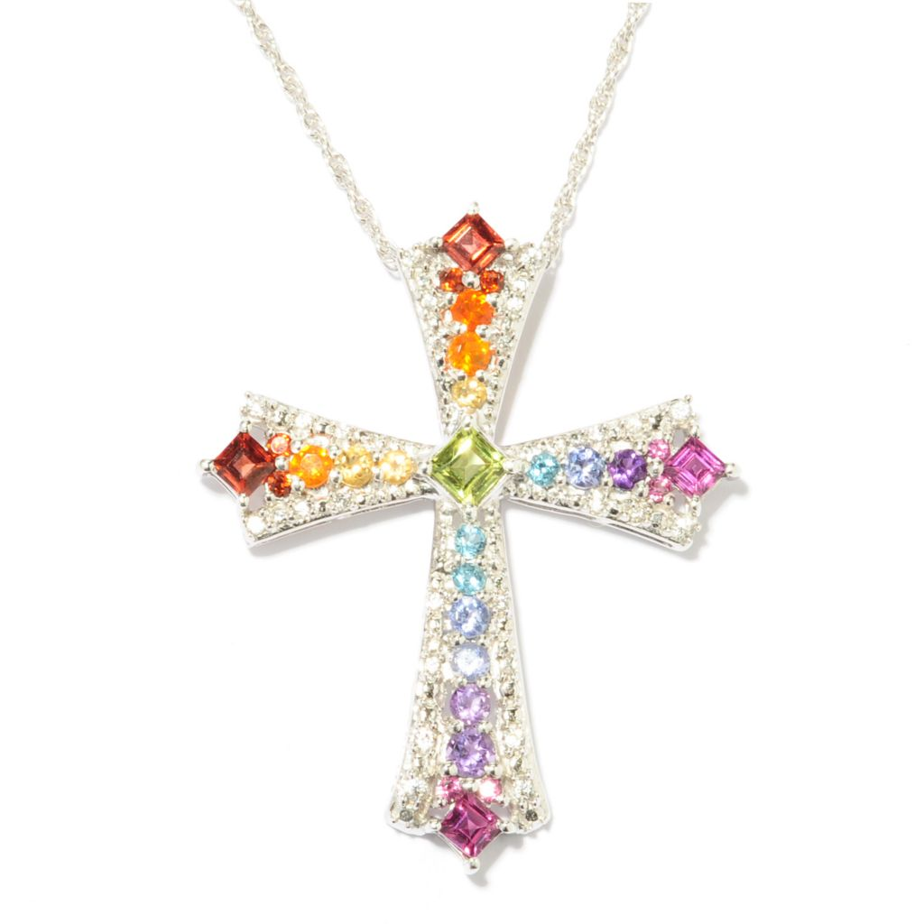 "137-475 - NYC II 2.19ctw Multi Gemstone Cross Pendant w/ 18"" Chain"