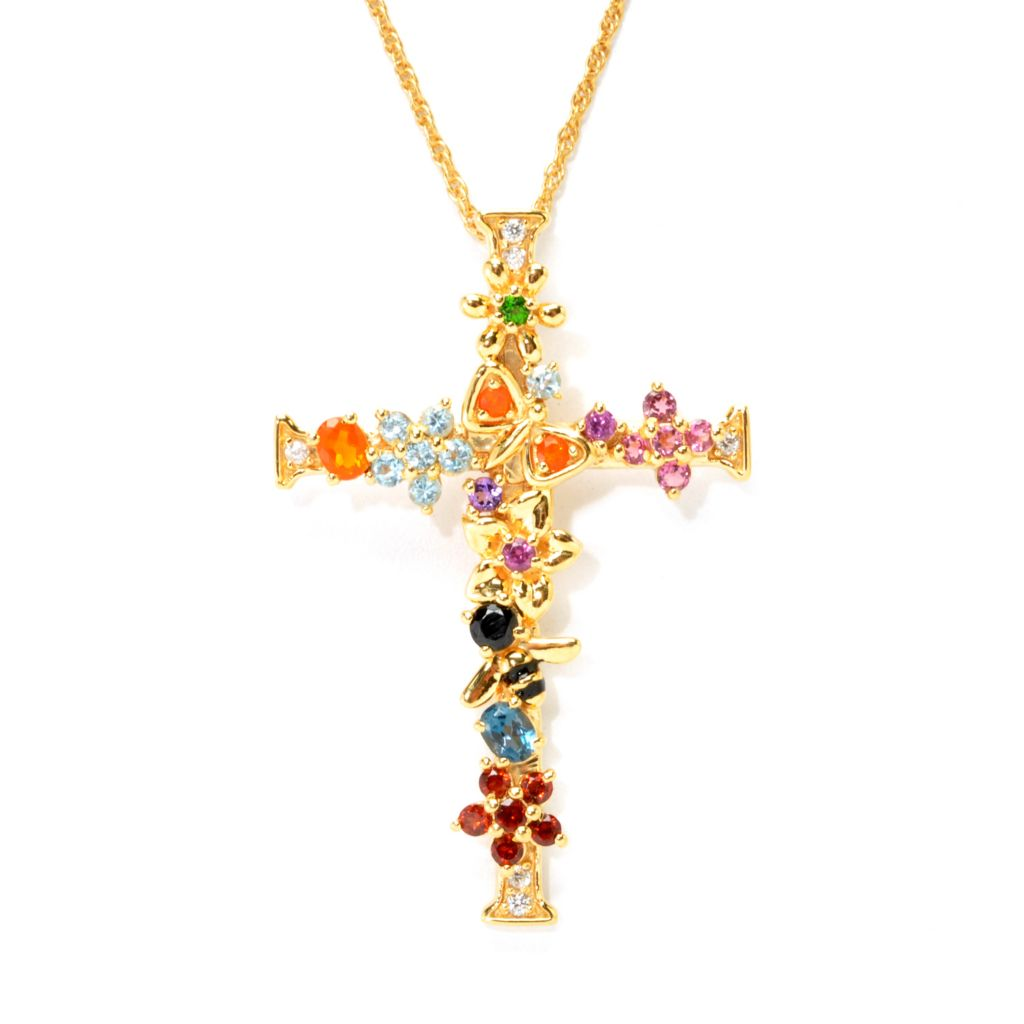 "137-476 - NYC II 1.50ctw Multi Gemstone ""Tucson Flower"" Cross Pendant w/ 18"" Chain"