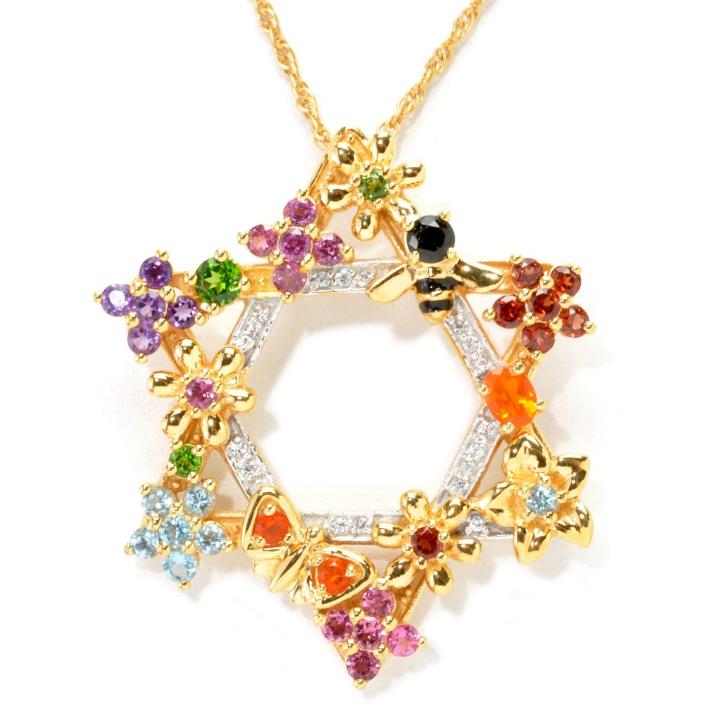 "137-477 - NYC II 1.63ctw Multi Gemstone ""Tucson Flower"" Star of David Pendant w/ Chain"