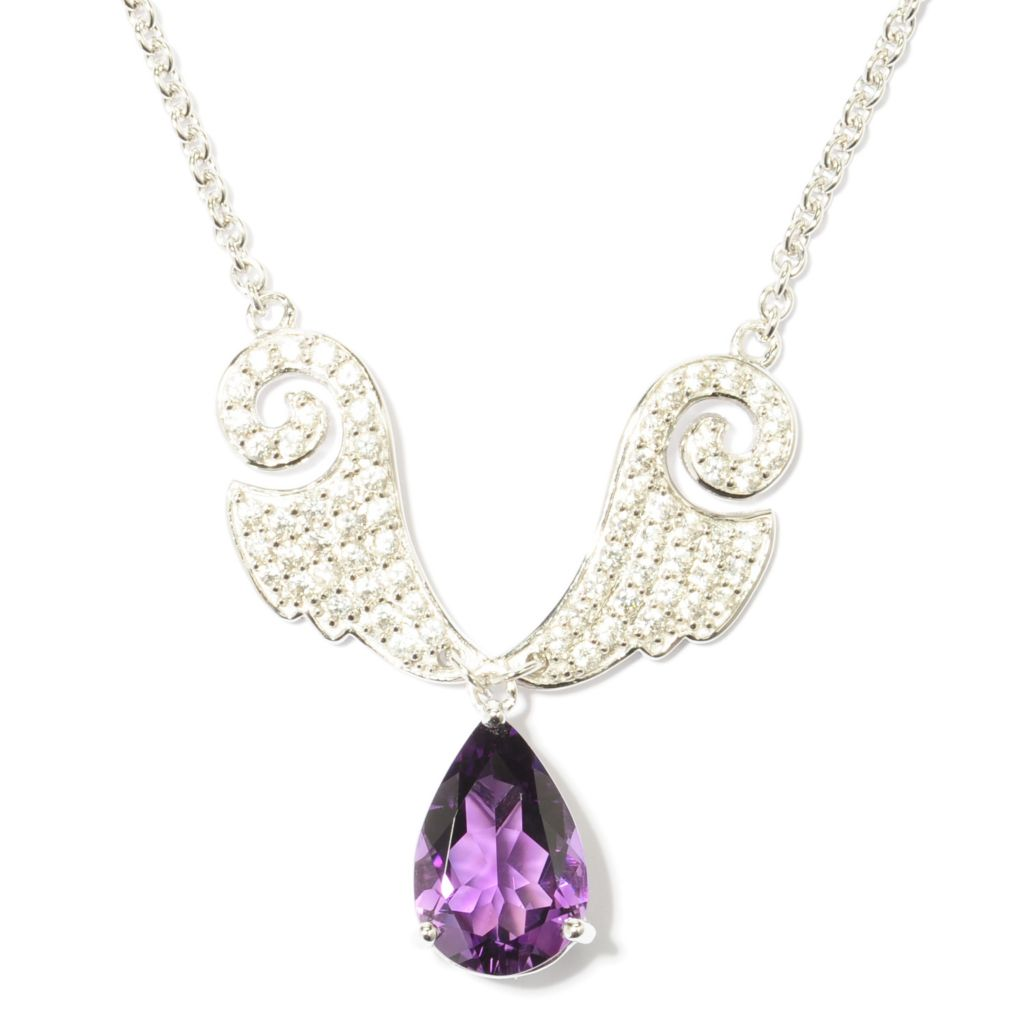 "137-479 - NYC II 19.75"" Gemstone Drop & White Zircon Angel Wing Necklace"