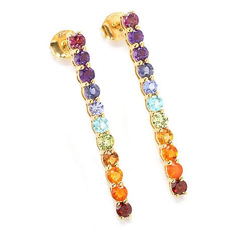 137-480 - NYC II 1.5'' 2.04ctw Multi Gemstone Exotic Rainbow Line Drop Earrings