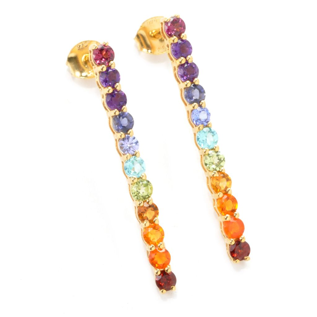 "137-480 - NYC II 1.5"" 2.04ctw Multi Gemstone Exotic Rainbow Line Drop Earrings"