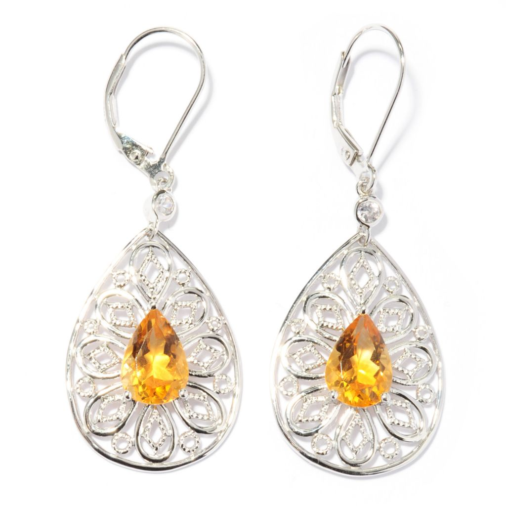 "137-481 - NYC II 1.75"" Pear Shaped Gemstone & White Zircon Teardrop Earrings"