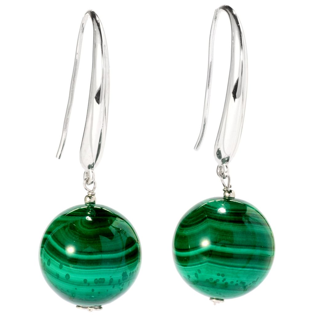 "137-483 - Gem Treasures Sterling Silver 1.75"" 16mm Gemstone Bead Drop Earrings"