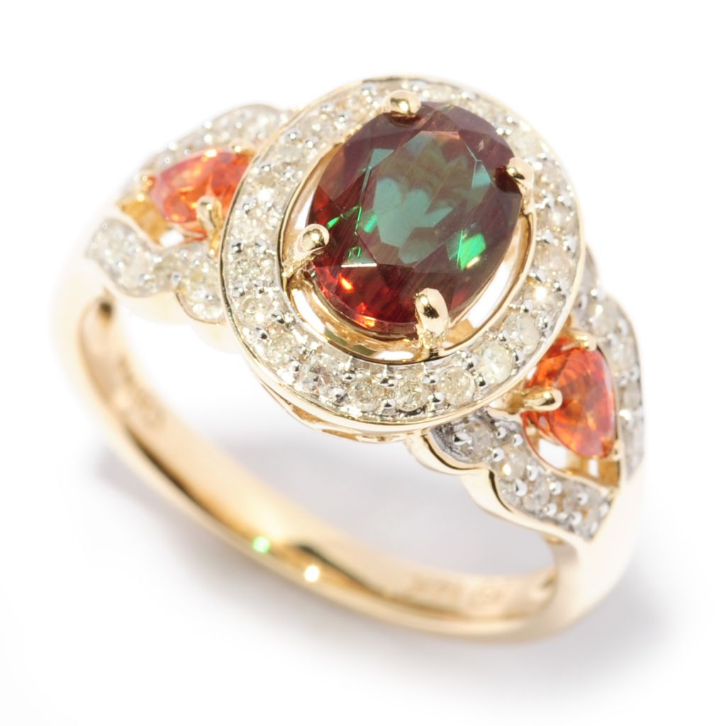 137-493 - Gem Insider 14K Gold 1.74ctw Oval Tibetanite, Orange Sapphire & Diamond Halo Ring