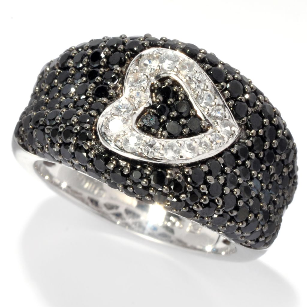 137-495 - Gem Treasures Sterling Silver 1.69ctw Spinel & White Sapphire Pave Heart Ring