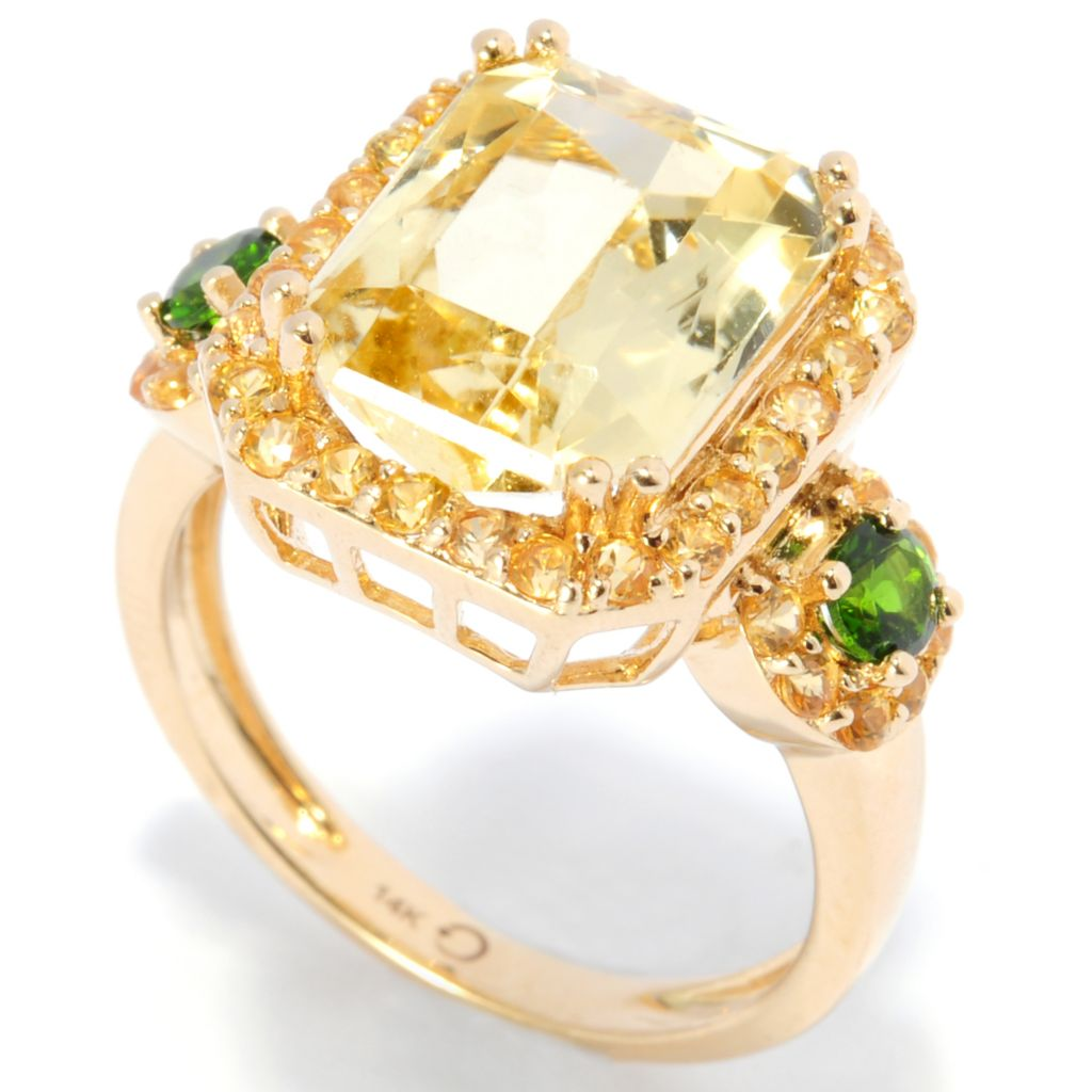 137-496 - Gem Treasures 14K Gold 4.87ctw Yellow Kunzite & Multi Gemstone Halo Ring