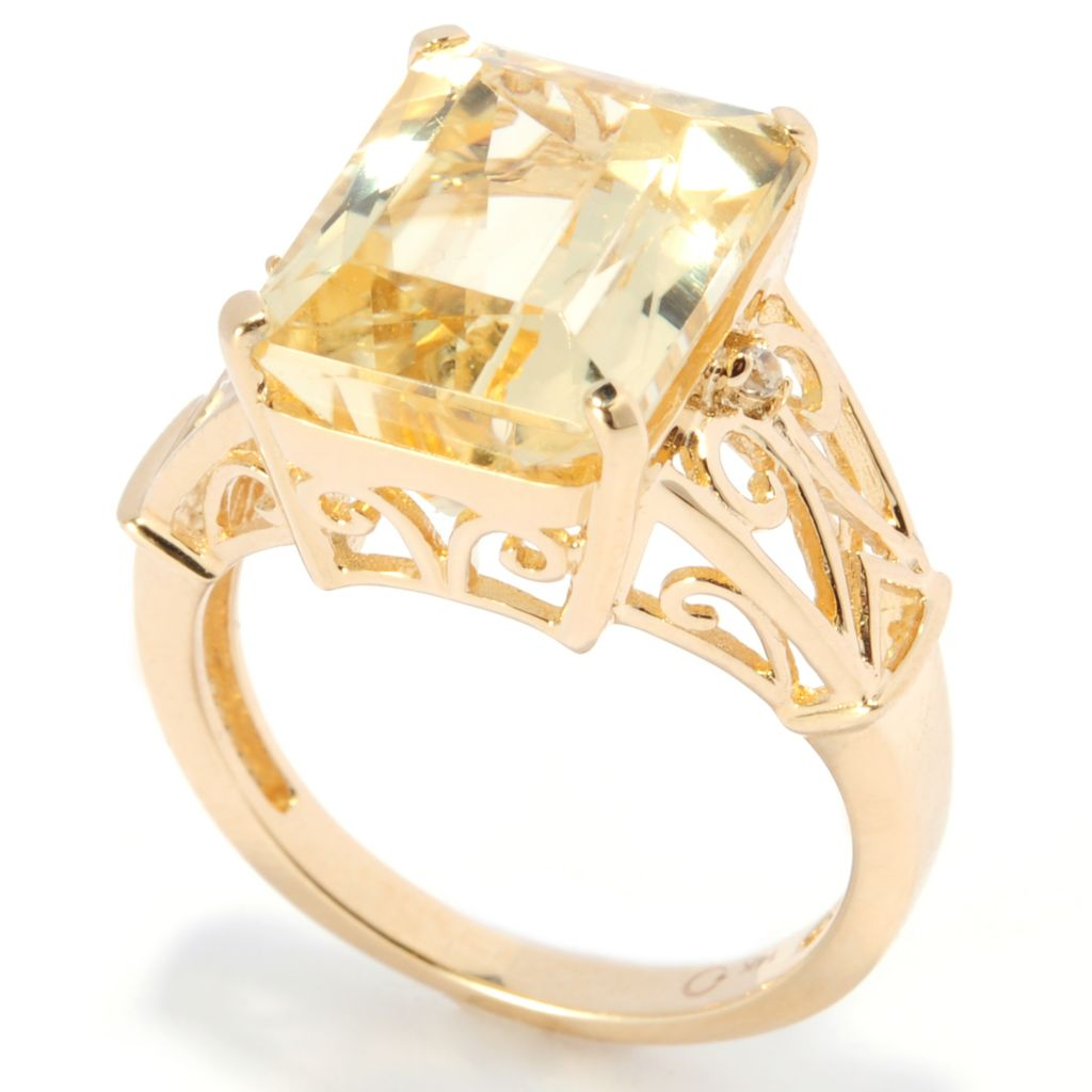 137-497 - Gem Treasures 14K Gold 6.20ctw Yellow Kunzite & White Zircon Swirl Openwork Ring