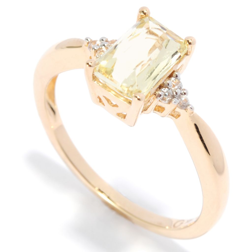 137-498 - Gem Treasures 14K Gold 1.05ctw Yellow Kunzite & White Zircon Ring