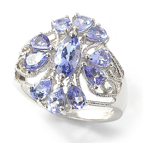 137-499 - Gem Treasures Sterling Silver 1.89ctw Marquise & Pear Shaped Tanzanite Ring