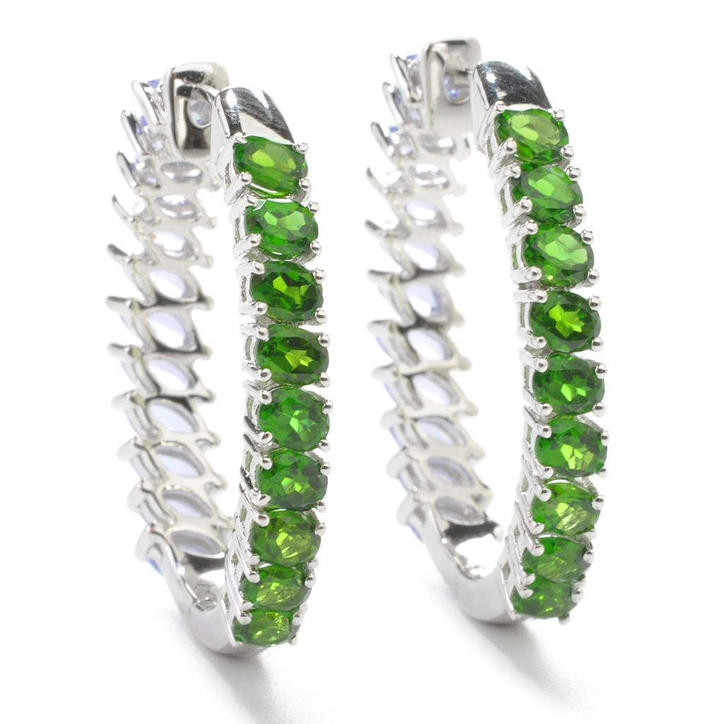"137-500 - Gem Treasures Sterling Silver 5.70ctw Multi Gem Double Sided 1.25"" Hoop Earrings"
