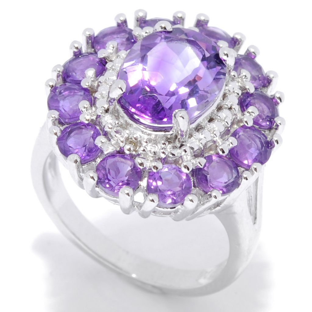 137-509 - Gem Insider Sterling Silver 3.37ctw African Amethyst & Diamond Double Halo Ring