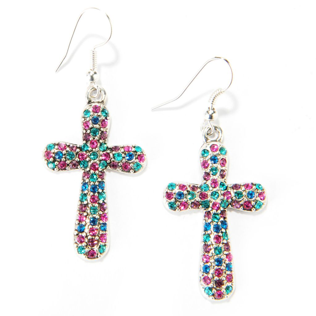 "137-526 - FAITH 2"" Multi Color Crystal Cross Drop Earrings"