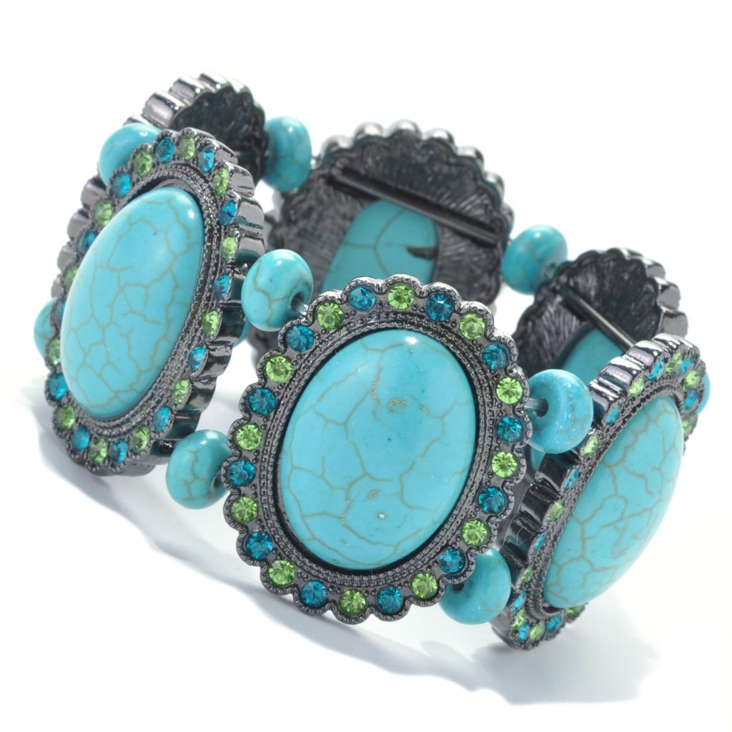 137-532 - FAITH Oval Howlite & Multi Color Crystal Stretch Bracelet