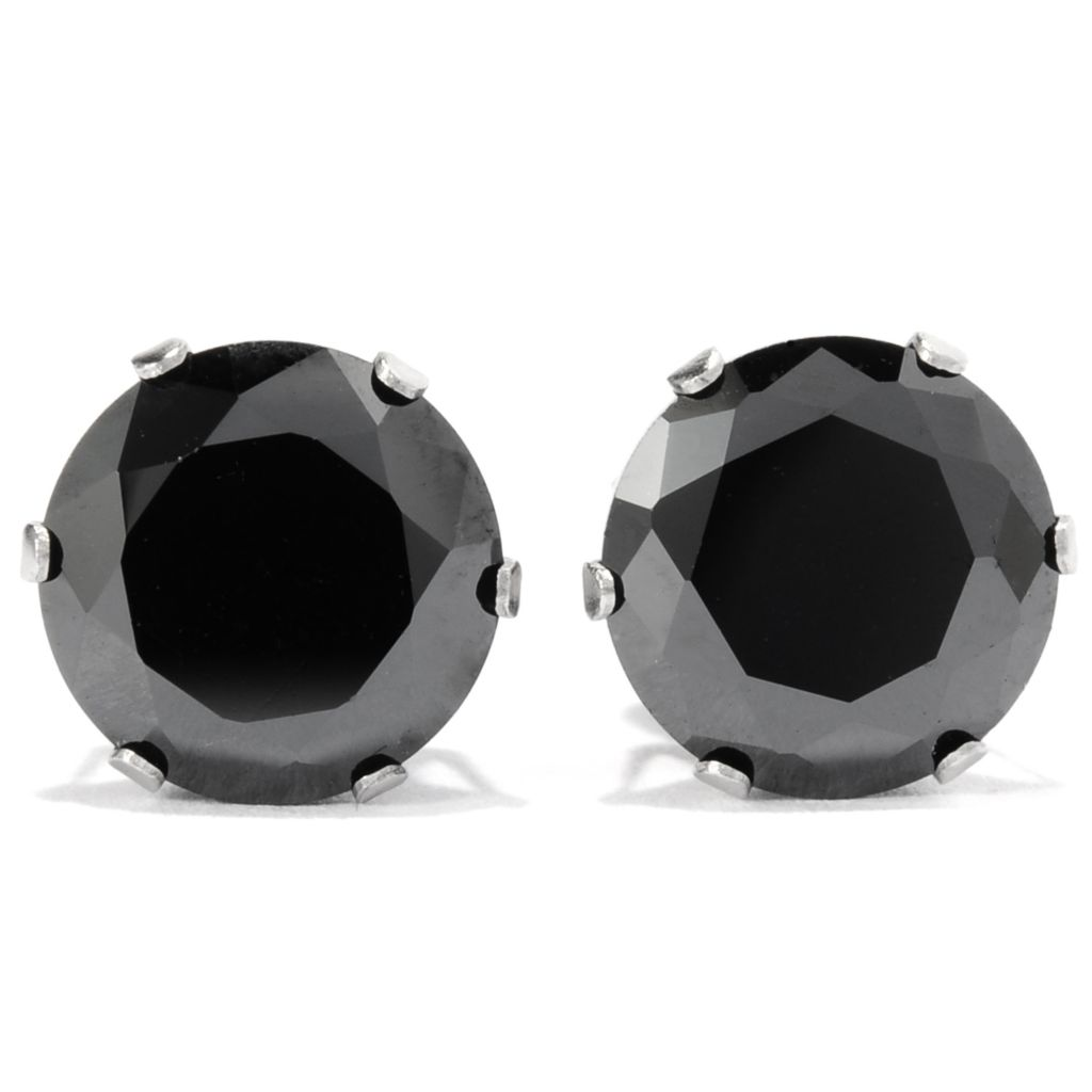 137-536 - Steeltime Unisex Stainless Steel Round Black Simulated Diamond Stud Earrings