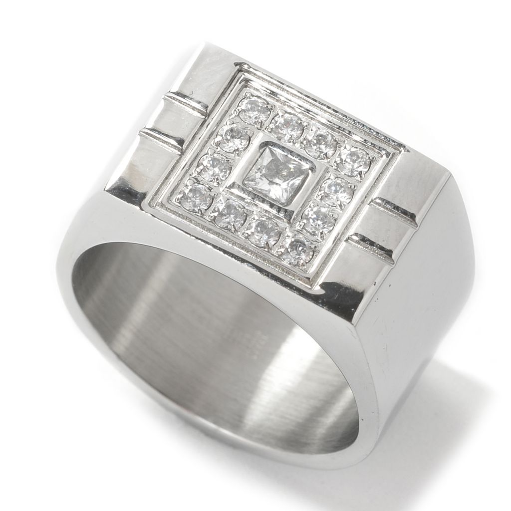 137-537 - Steeltime Men's Stainless Steel Simulated Diamond Square Top Wide Band Ring