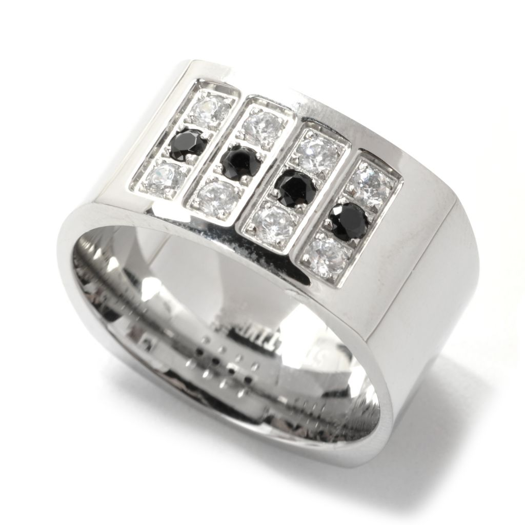 137-540 - Steeltime Men's Stainless Steel Black & White Simulated Diamond Wide Band Ring