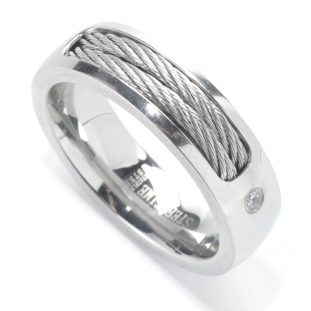 137-542 - Steeltime Men's Stainless Steel Simulated Diamond Twisted Wire Band Ring