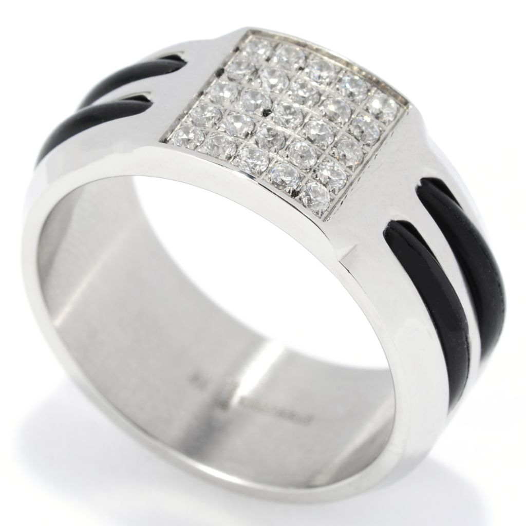 137-545 - Steeltime Men's Stainless Steel & Rubber Simulated Diamond Inlay Band Ring
