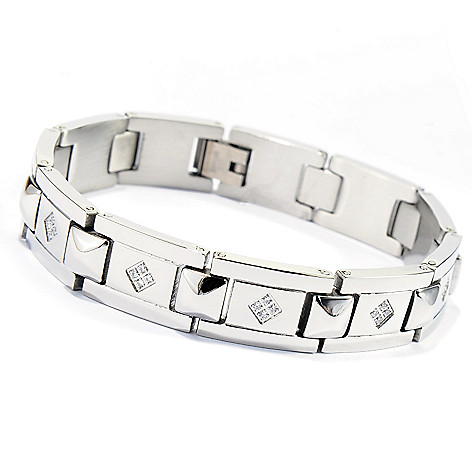 137-546 - Steeltime Men's Stainless Steel Simulated Diamond 8'' Link Bracelet