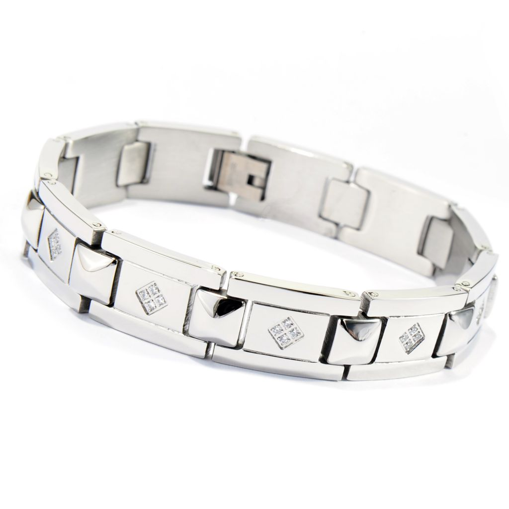 "137-546 - Steeltime Men's Stainless Steel Simulated Diamond 8"" Link Bracelet"
