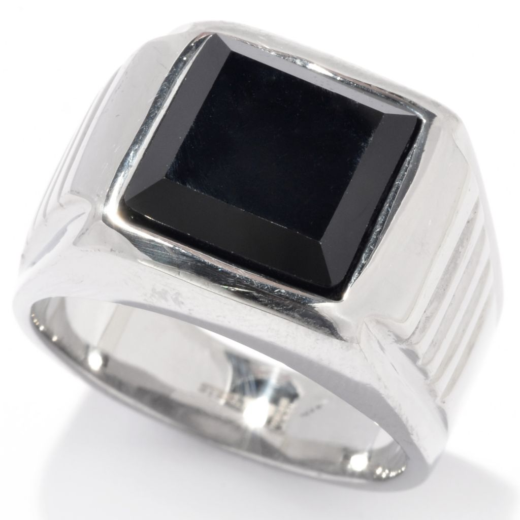 137-549 - Steeltime Men's Stainless Steel Black Simulated Diamond Textured Shank Ring