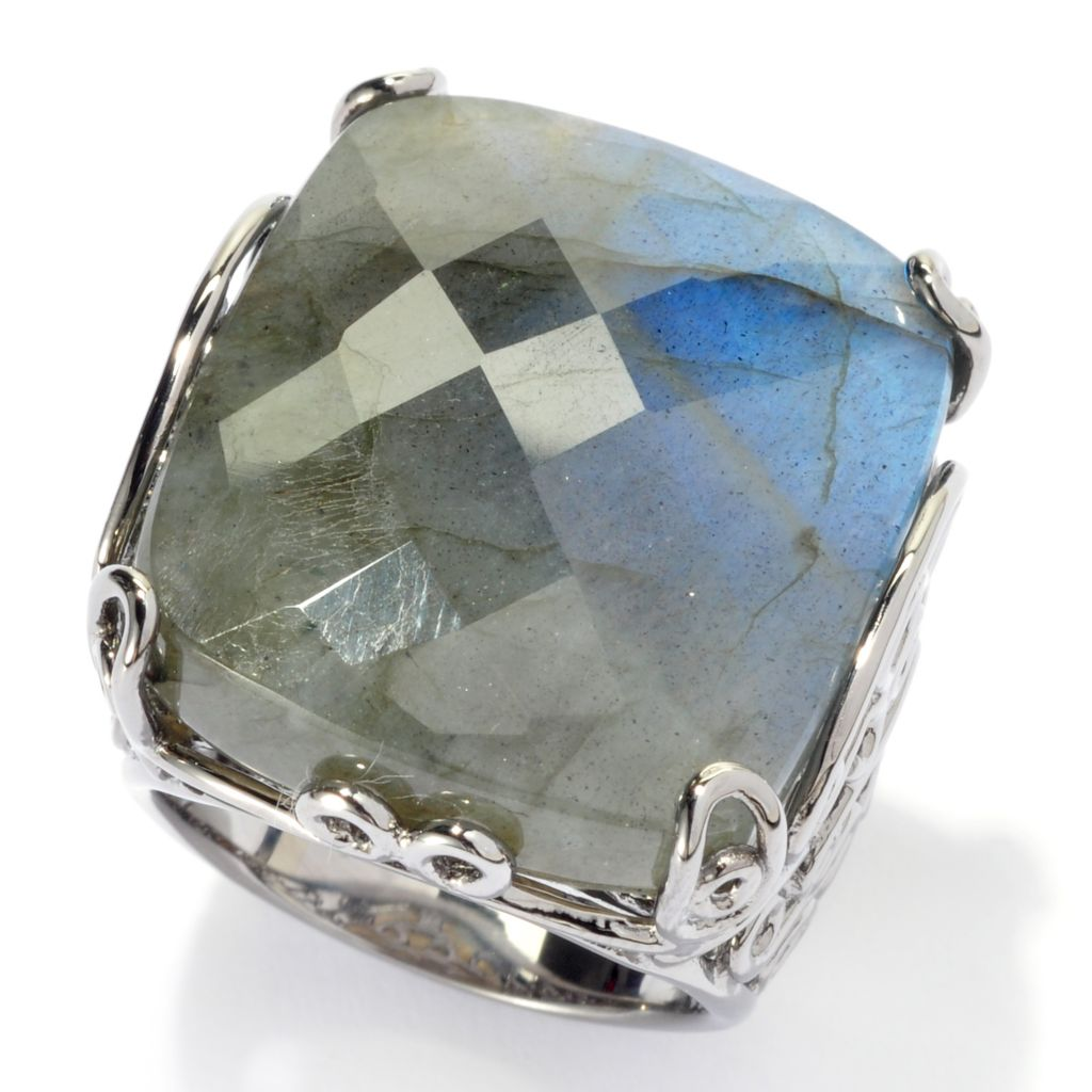137-550 - Dallas Prince Designs Sterling Silver 20 x 24mm Grey Labradorite Scrollwork Ring