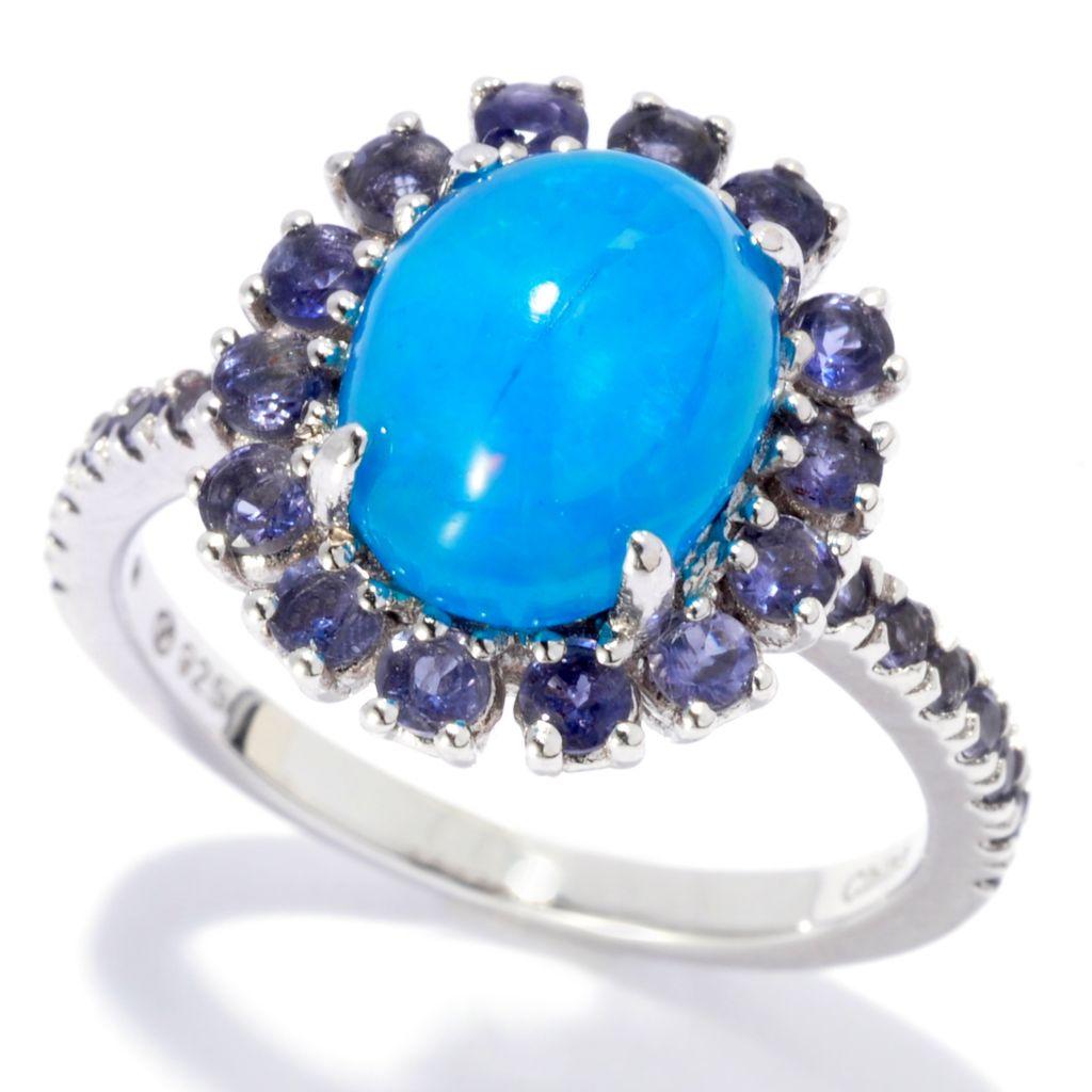 137-555 - Gem Treasures Sterling Silver 10 x 8mm Cobalt Blue Opal & Iolite Halo Ring