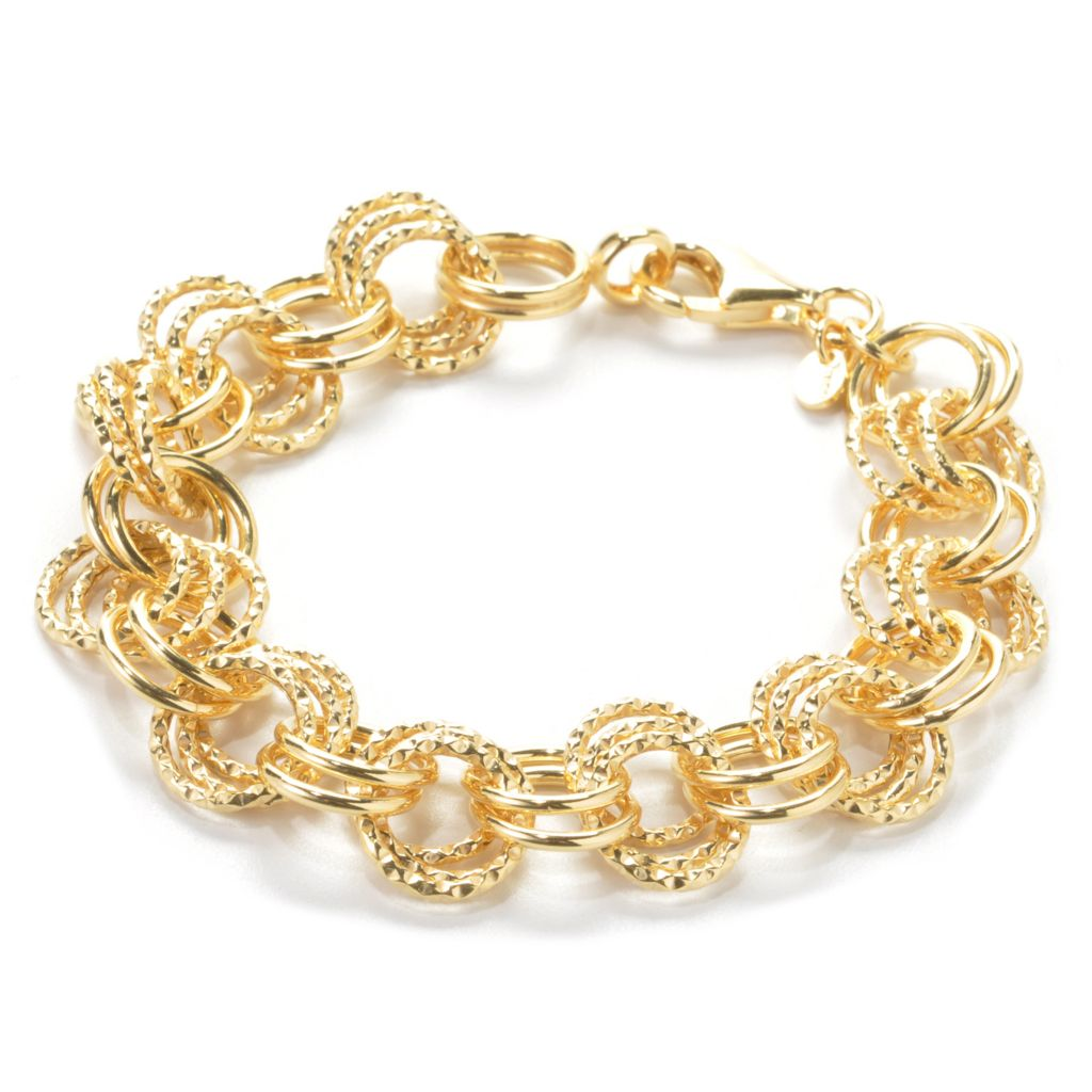 137-557 - NYC II Alternating Diamond Cut & Polished Circle Link Bracelet