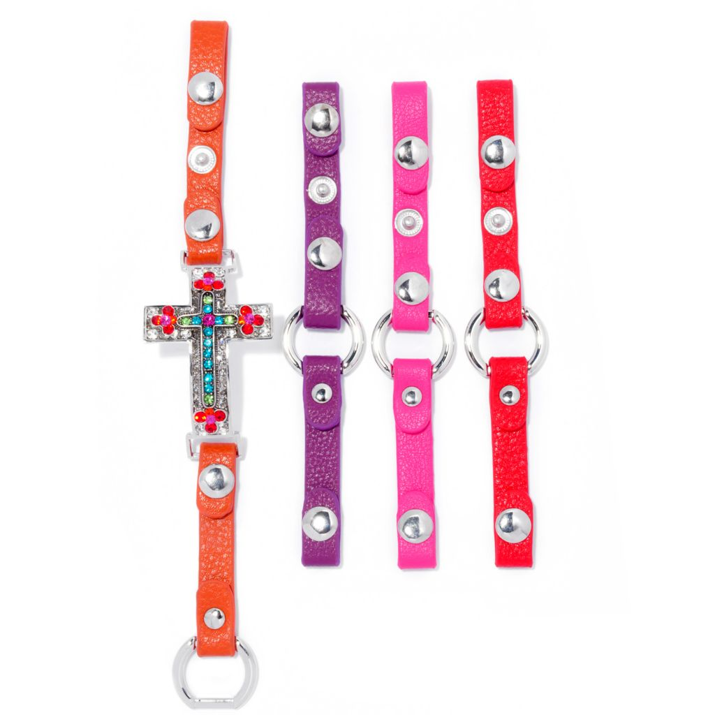 137-561 - FAITH Crystal Sideways Cross Bracelet w/ Four Interchangeable Straps